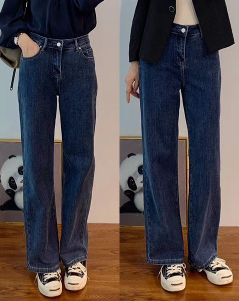 爆显瘦显腿长  仅118元 环保酵素洗深调牛仔蓝牛仔柔软有筋骨 大直筒牛仔裤