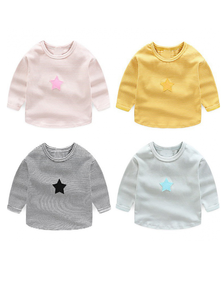 火星娃水星娃  都洋气!!仅39元  纯棉儿童长袖T恤 宽松蝙蝠袖T恤 圆领纯棉上衣 男童女童