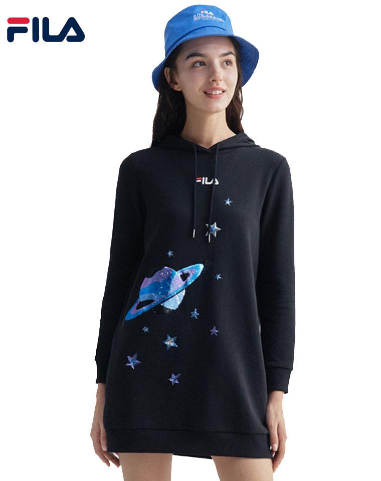 超减龄,甜酷女孩必备! 仅175元  FILA斐乐官方女子卫衣2020秋季新款时尚运动长款针织连帽卫衣