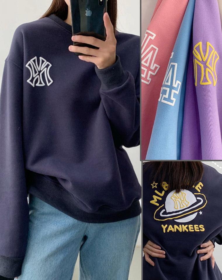 独家首发超级好货 !可亲子 男女款   仅69元  95元!!MLB官方  发泡小涂鸦 NY洋基队套头 宽松卫衣