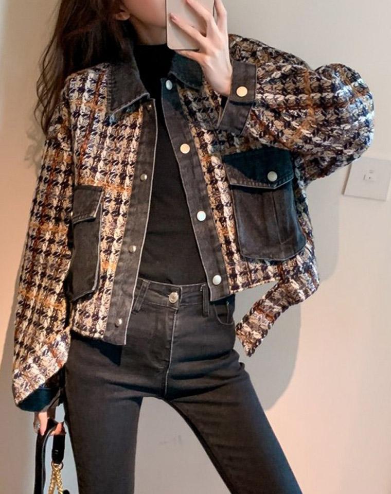 maje 炸街小香风 2020秋季新款  仅298元 小香风宽松小个子拼接牛仔格子外套