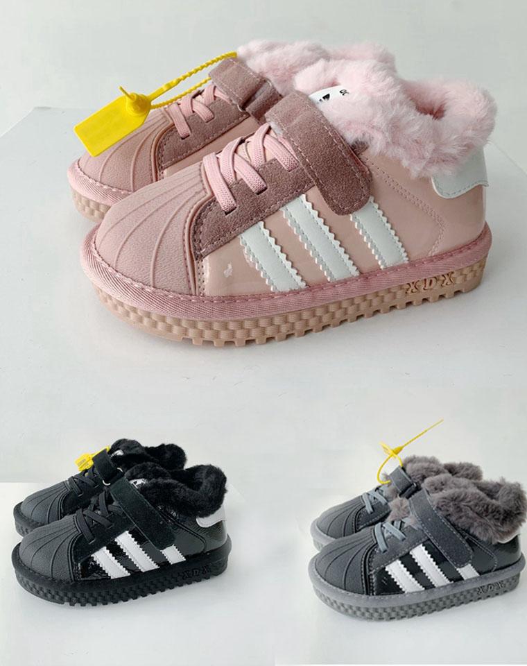 亲妈必收!!贝壳头加绒哒  男童女童都有~~仅128元   adidas阿迪达斯三叶草纯正原单   加绒贝壳头童运动鞋