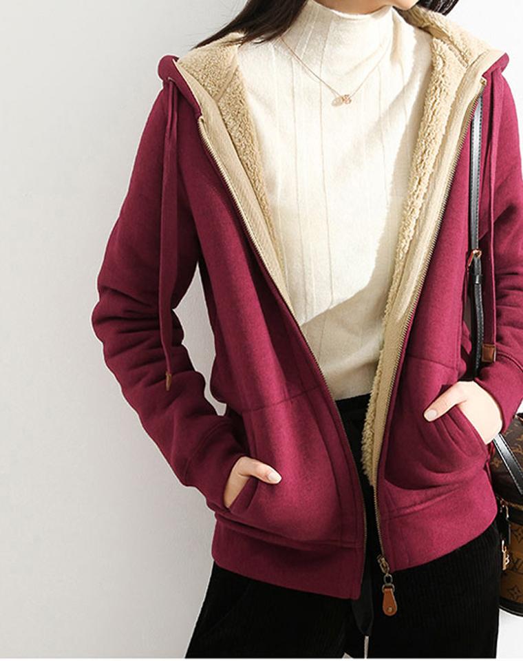 超厚超暖!超好品质!!仅175元 保暖加绒加厚 羊羔绒纯棉连帽开衫卫衣外套棉女