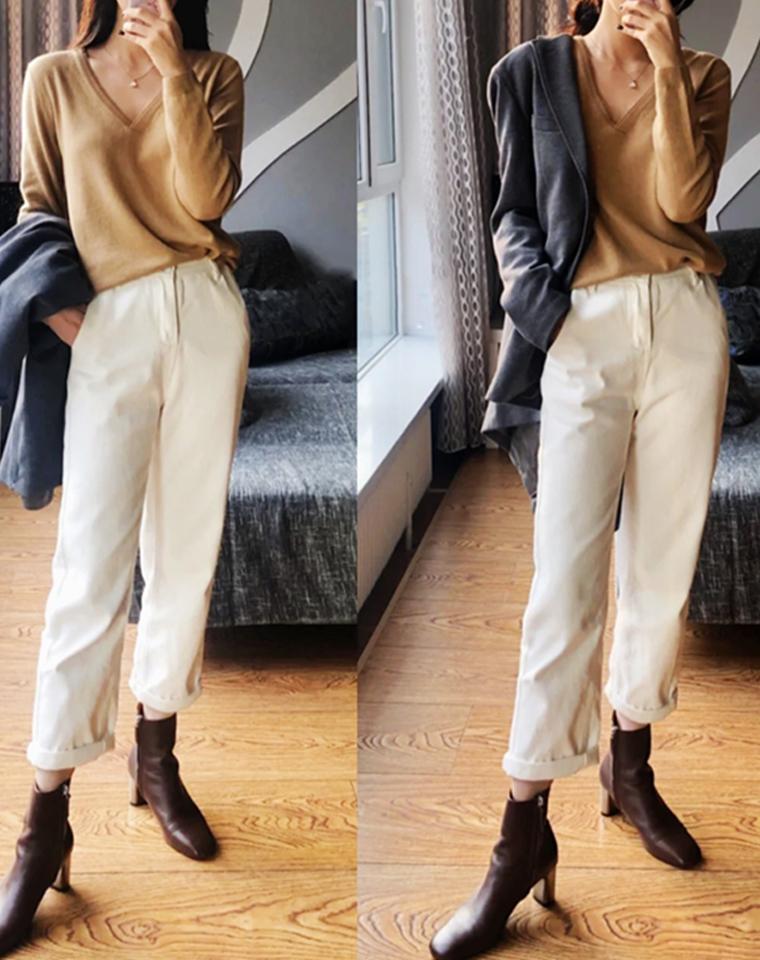 复古时髦调  仅128元  2020新款 秋冬加绒保暖  巨显瘦巨显腿型笔直 内里加绒高腰舒适显瘦直筒牛仔裤 搭配短靴