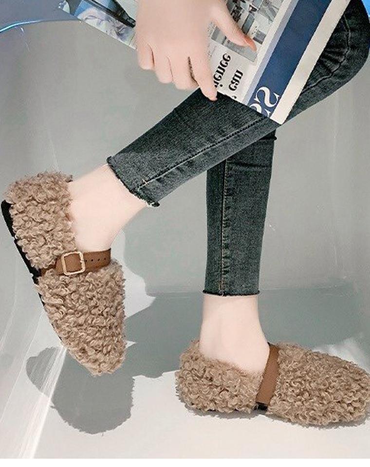 INS超好评 羊卷毛 仅49元  厚底 懒人冬季加绒防滑 毛毛鞋   外穿羊羔毛豆豆鞋 质感奶奶鞋
