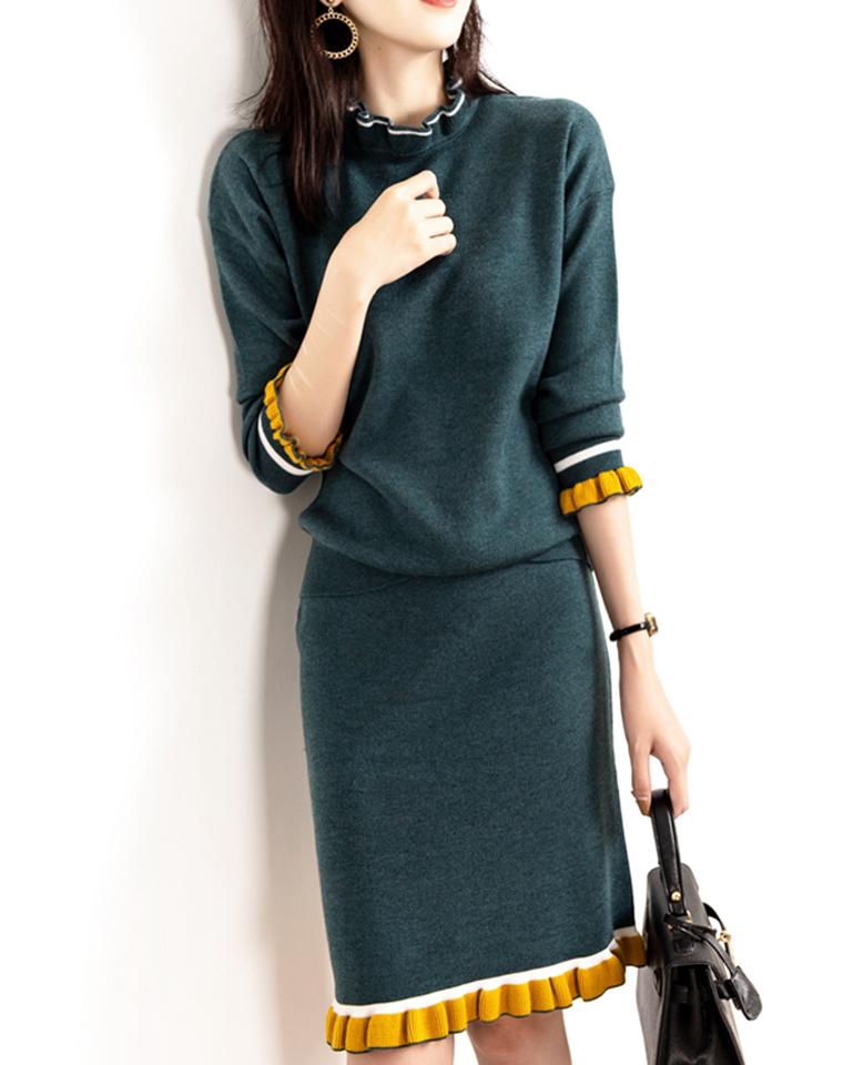 上身秒瘦10斤   仅198元   秋冬最新  法式气质   拼色针织套装裙  羊毛两件套法式套裙