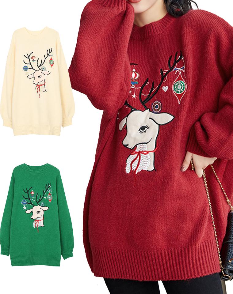 超萌!超软!超减龄~仅128元  麋鹿红色圣诞毛衣  宽松显瘦落肩袖圆领针织套头毛衣