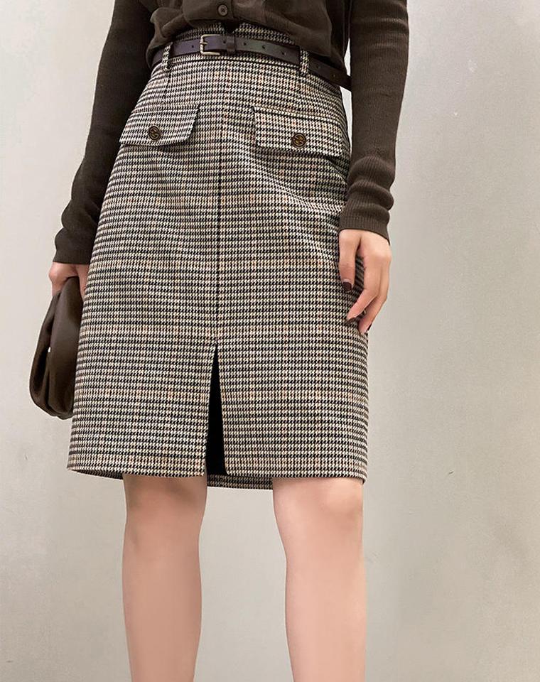 气质款 秋冬新款  仅119元 前开叉设计通勤格子半身裙千鸟格毛呢包臀裙女