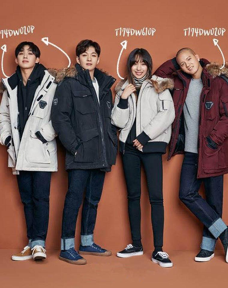 超值回馈男女款   仅328元  韩国联合品牌纯正原单    貉子毛领军工装中长款羽绒服