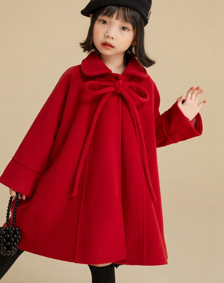 亲妈必收  闺女过年必备的红大衣  仅118元  蝴蝶结斗篷娃娃领 中长款保暖加厚毛呢大衣