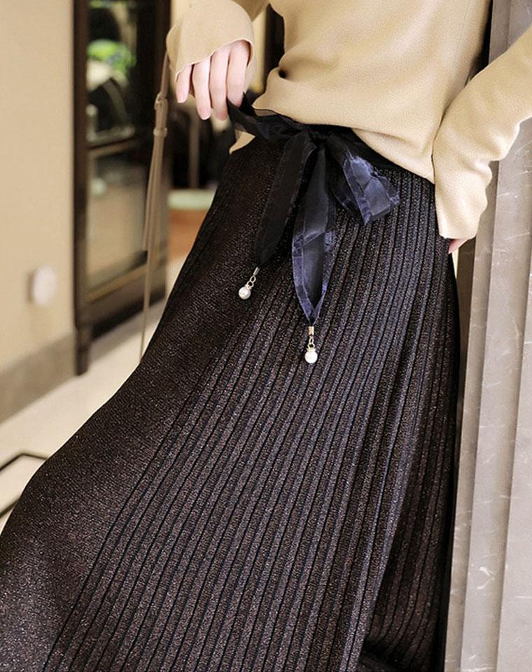 质美升级!鎏金璀璨  高品质含羊毛 仅128元 特质金葱星甸闪感 垂挺复古微蓬 欧根纱腰带百褶半身裙