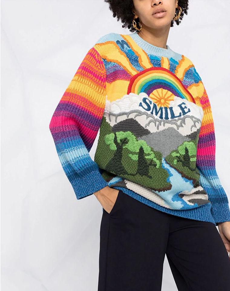 颜值爆表!上身真是挡不住的好看呀~  仅228元 Stella McCcartney纯正原单 羊毛 微笑彩虹长款毛衣