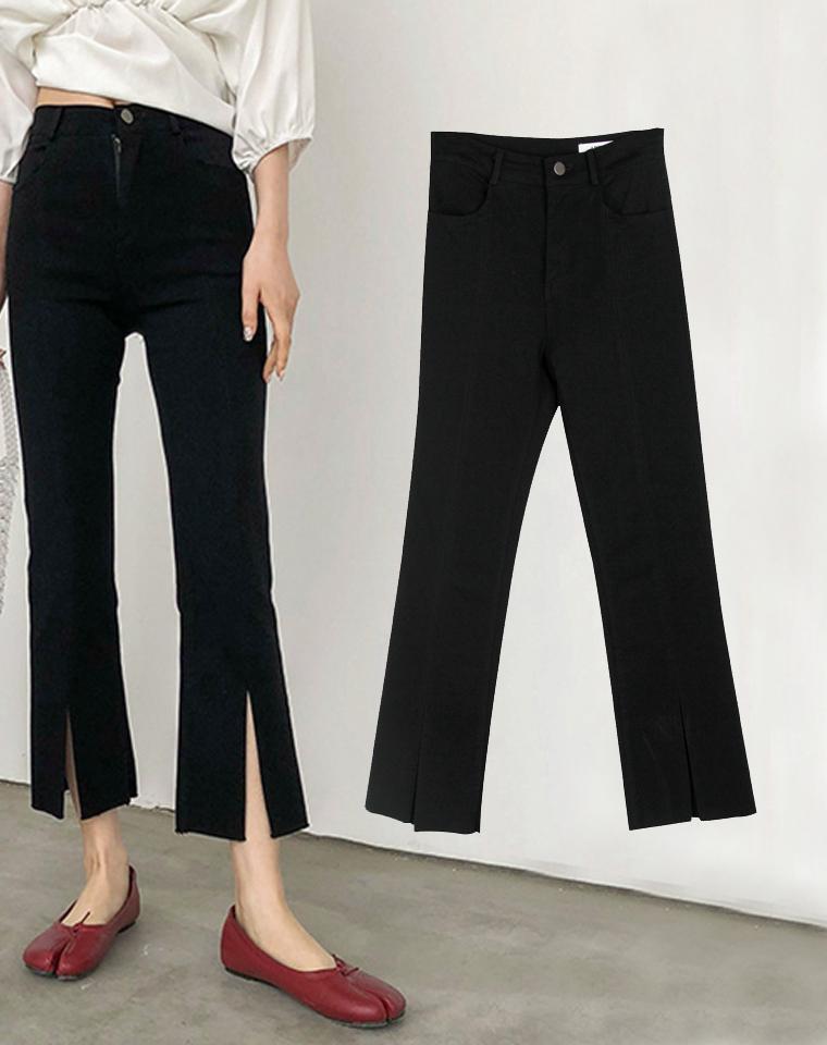 可以上班穿的微喇小黑裤  高腰显瘦 仅86元   四面弹力高腰中缝裤线 前开叉显瘦九分裤