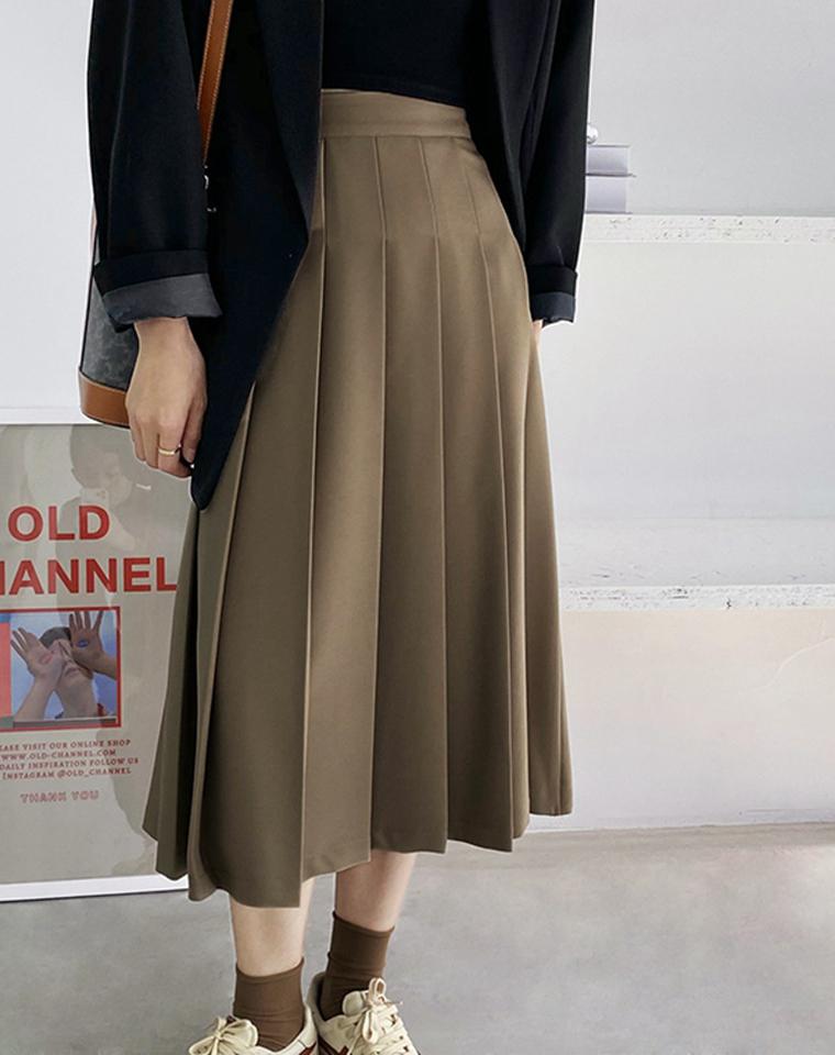 很气质很带感  仅95元  法式高腰百褶裙 复古中长半身裙  春秋遮胯显瘦A字伞裙