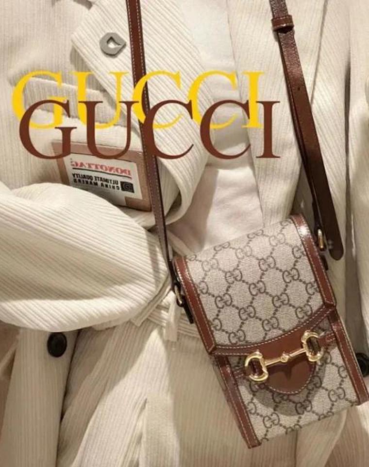 超级推荐  仅165元 Gucci纯正原单 配皮Horsebit 1955款复古手机包 单肩斜挎包
