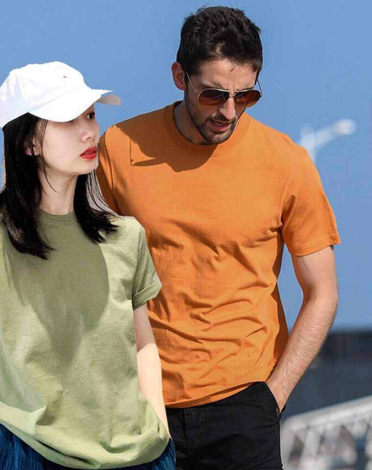 出口订单贴个厂牌  超值捡漏男女款仅39元 新疆长绒棉 纯棉纯色短袖  好品质!
